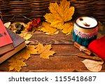 coffee in an enamel mug  woolen ... | Shutterstock . vector #1155418687