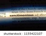 Small photo of sanctimonious word in a dictionary. sanctimonious concept.
