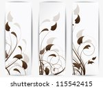 Stock vector set of ornamental cards with abstract background and floral elements with swirls and flowers 115542415