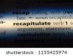 Small photo of recapitulate word in a dictionary. recapitulate concept.