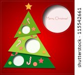 merry christmas card with paper ... | Shutterstock .eps vector #115542661