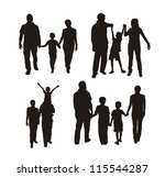 Family Silhouette Isolated Ove...
