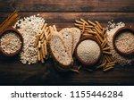 wholegrain foods  with high...   Shutterstock . vector #1155446284