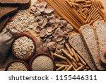 wooden table full of fiber rich ... | Shutterstock . vector #1155446311