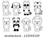 illustration of cute animal set ...