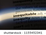 Small photo of inequitable word in a dictionary. inequitable concept.