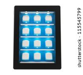 Black glossy tablet pad electronic device with backlighted blue showcase window with shelves full of application app emblems as a screen backdrop, isolated on white background - stock photo