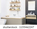 modern bathroom interior with... | Shutterstock . vector #1155462247