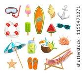 vector set summer icons. mask... | Shutterstock .eps vector #1155471271