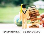 blur hand placing student wood... | Shutterstock . vector #1155479197