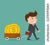 businessman pulling cart full...   Shutterstock .eps vector #1155495064