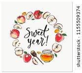 happy rosh hashanah hand drawn... | Shutterstock .eps vector #1155509374