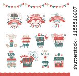 christmas set with christmas... | Shutterstock .eps vector #1155516607