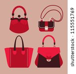 woman bags collection vector illustration eps 10 - stock vector