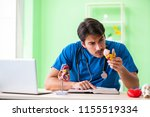 doctor student explaining heart ...   Shutterstock . vector #1155519334