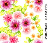 flower print in bright colors.... | Shutterstock . vector #1155551941