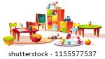 kindergarten interior furniture ... | Shutterstock .eps vector #1155577537