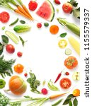 frame of various vegetables and ... | Shutterstock . vector #1155579337