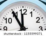blue alarm clock. five minutes... | Shutterstock . vector #1155599371