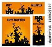 happy halloween vector ... | Shutterstock .eps vector #1155605554