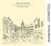 bridge in amsterdam  holland ... | Shutterstock .eps vector #1155607321