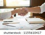handshake success dealing  two... | Shutterstock . vector #1155610417