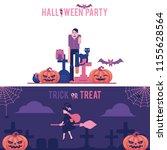 halloween horizontal greeting... | Shutterstock .eps vector #1155628564