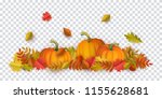 autumn leaves and pumpkins... | Shutterstock .eps vector #1155628681