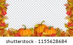 autumn leaves and pumpkins... | Shutterstock .eps vector #1155628684