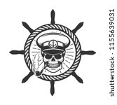 skull in boat captain hat.... | Shutterstock .eps vector #1155639031
