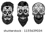 Vector Illustration Set Of Bearded Mexican Sugar Skulls With Pattern DAY OF THE DEAD