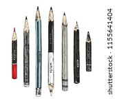 hand drawn pencils collection ... | Shutterstock .eps vector #1155641404