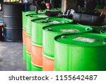 industry oil barrels tank at... | Shutterstock . vector #1155642487