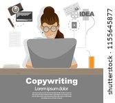 happy women working on laptop.... | Shutterstock .eps vector #1155645877