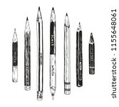 hand drawn pencils collection ... | Shutterstock .eps vector #1155648061