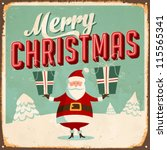 vintage metal sign   merry... | Shutterstock .eps vector #115565341