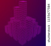 mesh low poly wireframe cubes... | Shutterstock . vector #1155677584