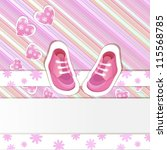 pink  baby shower card with... | Shutterstock .eps vector #115568785