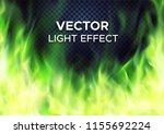 burning green fire flames on... | Shutterstock .eps vector #1155692224