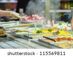 salads and other dishes with... | Shutterstock . vector #115569811