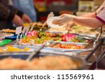 salads and other dishes with...   Shutterstock . vector #115569961