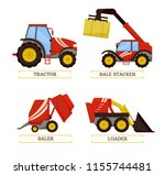 tractor and baler agricultural...   Shutterstock .eps vector #1155744481