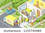 cargo delivery company people...   Shutterstock .eps vector #1155744484