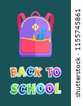 backpack with stationery  back... | Shutterstock .eps vector #1155745861