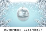 silver christmas ball on snow... | Shutterstock .eps vector #1155755677