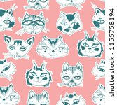 seamless pattern with cute cats ... | Shutterstock .eps vector #1155758194