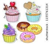 vector illustration. set candy  ... | Shutterstock .eps vector #1155761314
