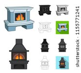 different kinds of fireplaces...   Shutterstock .eps vector #1155771241