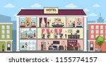 hotel interior set inside... | Shutterstock . vector #1155774157