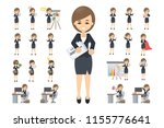 business woman set. posing and... | Shutterstock . vector #1155776641